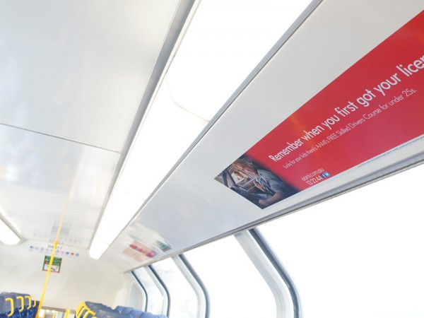 Advertising train panels internal