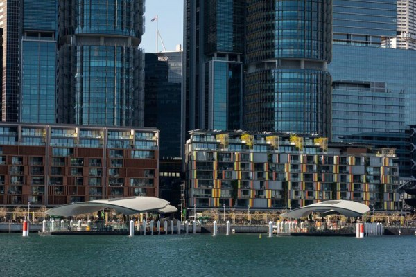 Barangaroo Ferry Wharf view from Darling Harbour