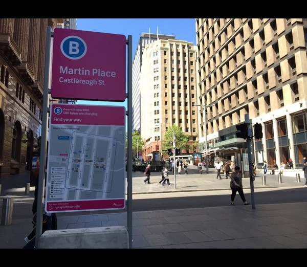 Temporary signage Pink Hub sign at Martin Place