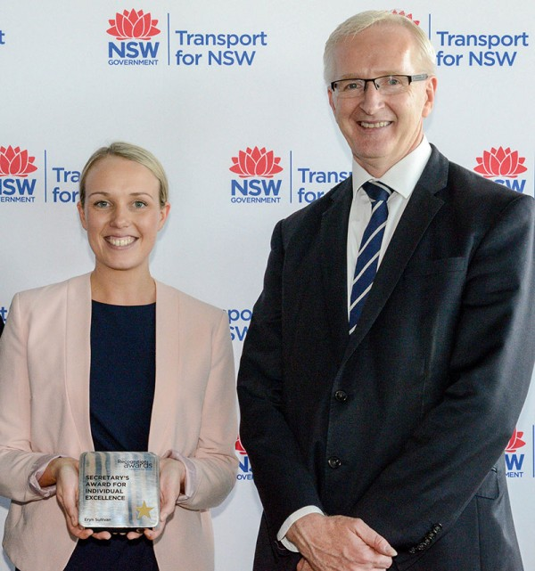 Transport Secretary Tim Reardon with the winner of the Secretary's Award for Individual Excellence, Eryn Sullivan