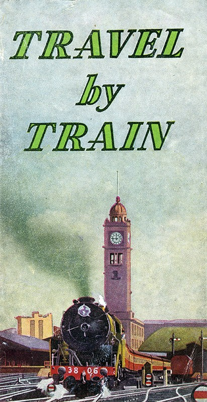 c.1945 travel brochure shows a 38-class train leaving Central.