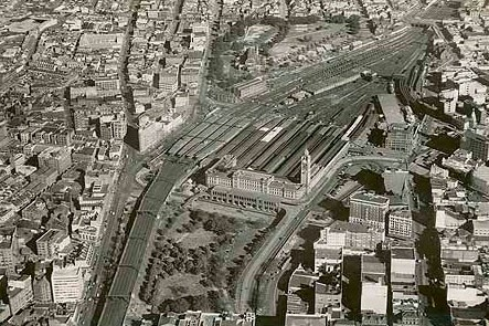 View of Central Station in c.1930 showing expanse of new 'electric' platforms and railway yards, with Eddy Avenue in the foreground.