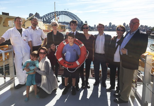The family of Victor Chang with the crew of Sydney's newest inner harbour ferry