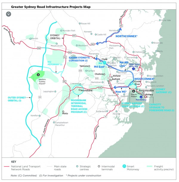 Greater Sydney Road Infrastructure Projects Map