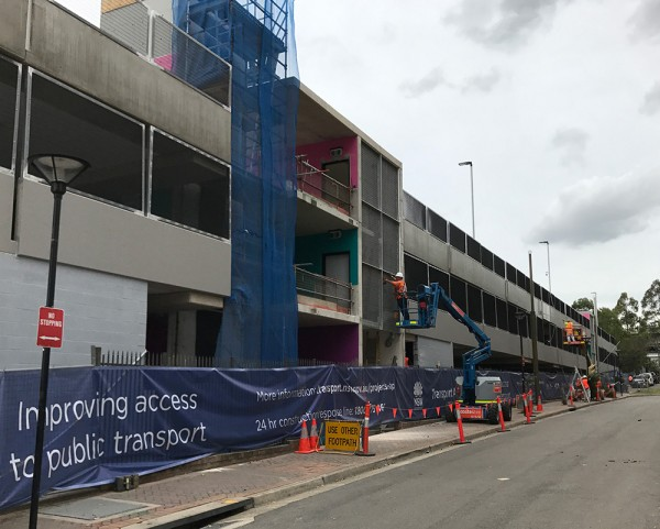View of construction of Ashfield Commuter Car Park from Brown Street – February 2018