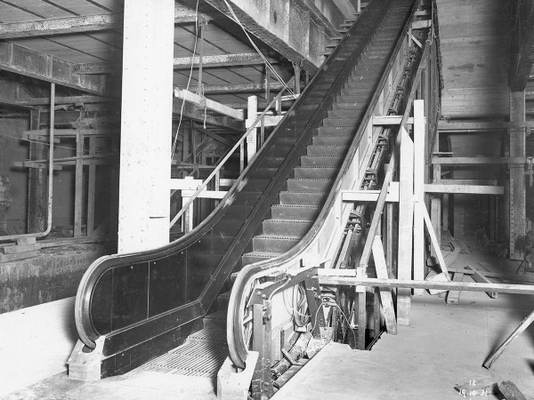 Installation in progress at Town Hall Station in October 1931. Source Sydney Trains.