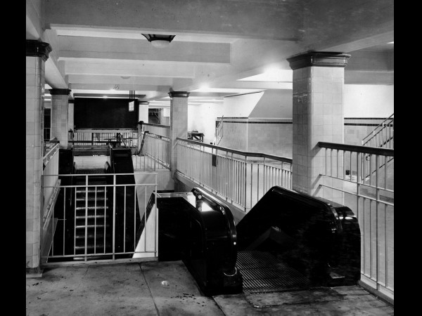 Town Hall Station on completion showing the original escalators in 1932. Source State Records NSW.
