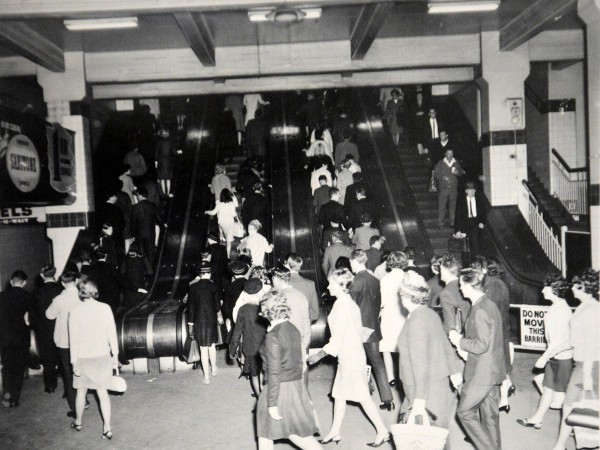 Wynyard Escalators in April 1966. Soruce State Archives and Records