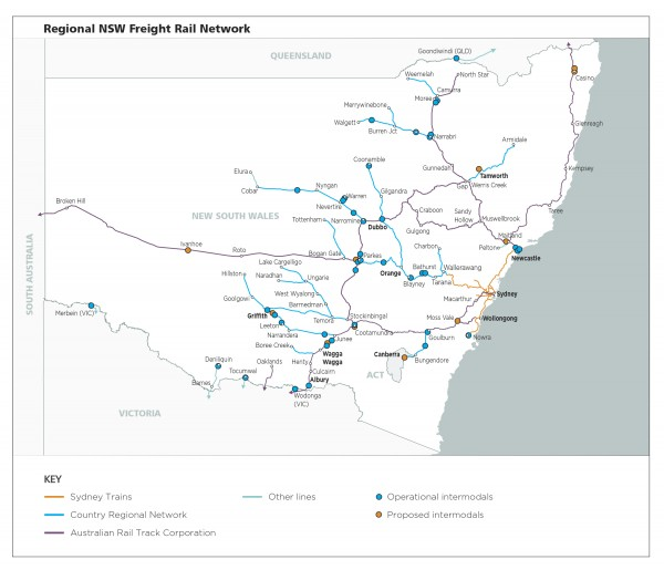 Figure 17: Regional NSW rail network