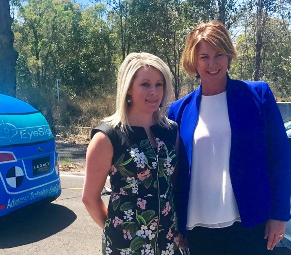 Minister for Roads Maritime and Freight Melinda Pavey alongside ANCAP Director Communications & Advocacy, Mrs Rhianne Robson announcing $1.6 million investment into Crashlab to improve driver safety.