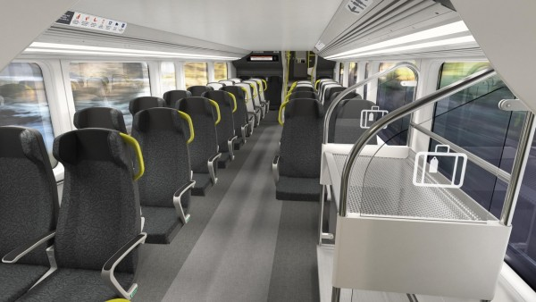 Artist's impression of high-backed seats with arm rests, tray tables and mobile device charging port