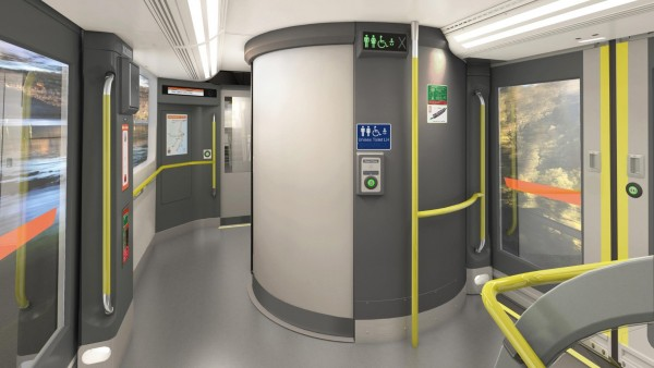 Artist's impression of accessible toilets on the New Intercity Fleet train