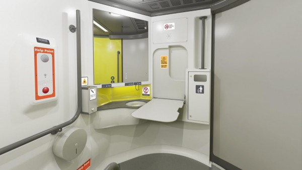 Artist's impression of interior view of the accessible toilets with baby change table