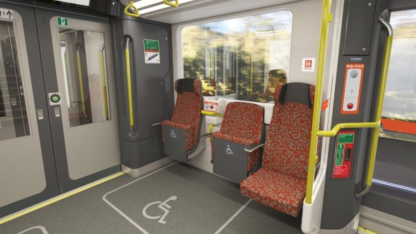 Artist's impression of dedicated space for wheelchairs and priority seating areas