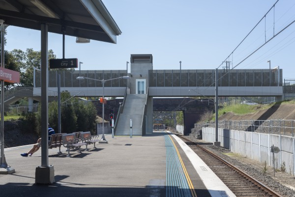 Artist's impression of the proposed Birrong Station Upgrade, subject to change during detailed design