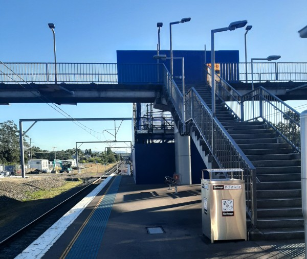 A new lift is constructed to access the platforms at Wyee Station