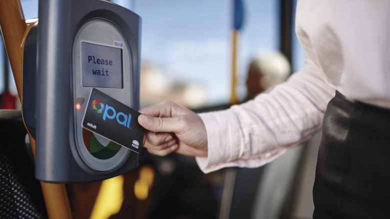 Image of a person tapping onto an Opal reader with their Opal card.