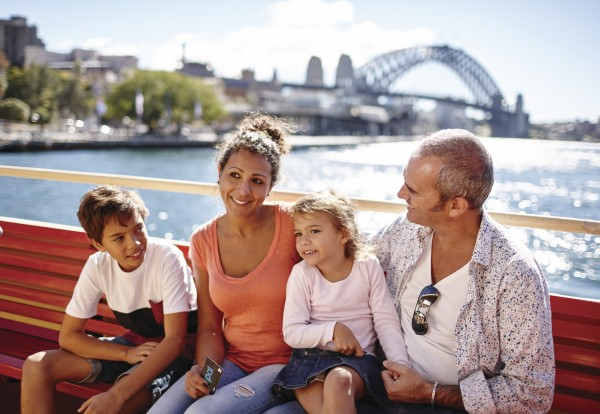 Picture of a family sitting on a Sydney Harbour Ferry
