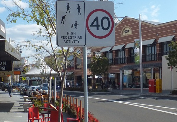 Photo of a street with a 40km Pedestrian Zone sign