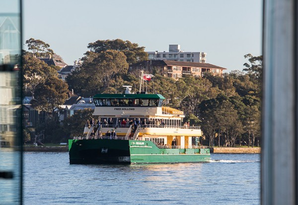 Photo of the Fred Hollows Ferry approaching the new Barangaroo Ferry Wharf