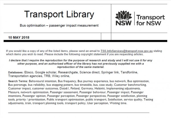 TfNSW research outputs and library resources